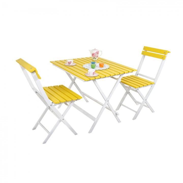 Prado Adaliss Bistro Bahçe Balkon Masa Sandalye Takımı Sarı