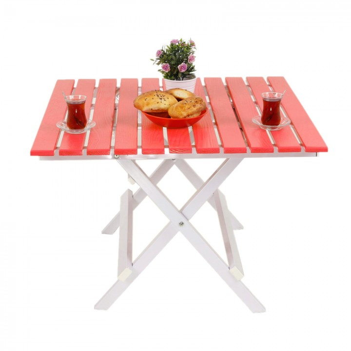 Prado Adaliss Katlanır Bahçe Balkon Masası, Mini Masa Kırmızı