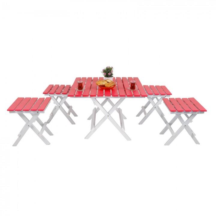 Prado Adaliss Katlanır Balkon Masası Mini Masa Takımı Kırmızı
