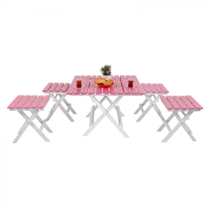 Prado Adaliss Katlanır Bahçe Balkon Masası Mini Masa Takımı Pembe