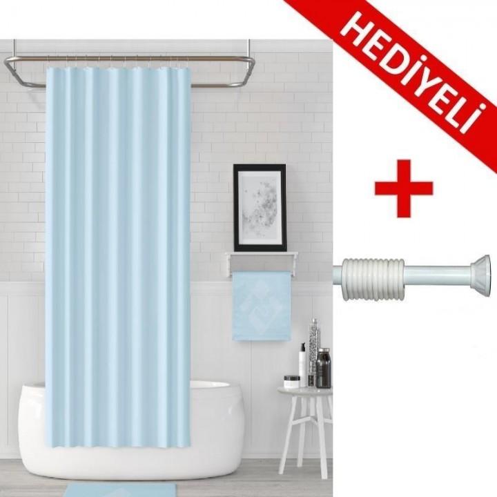 Prado Banyo Duş Perdesi Mavi 180x200cm + ASKI HEDİYELİ