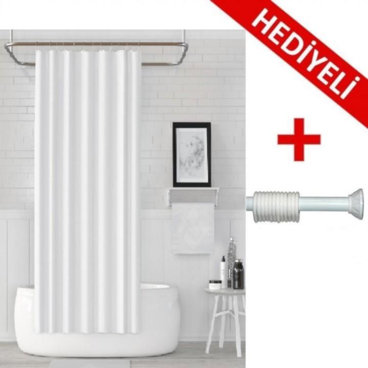 Prado Banyo Duş Perdesi Beyaz 180x200cm + ASKI HEDİYELİ