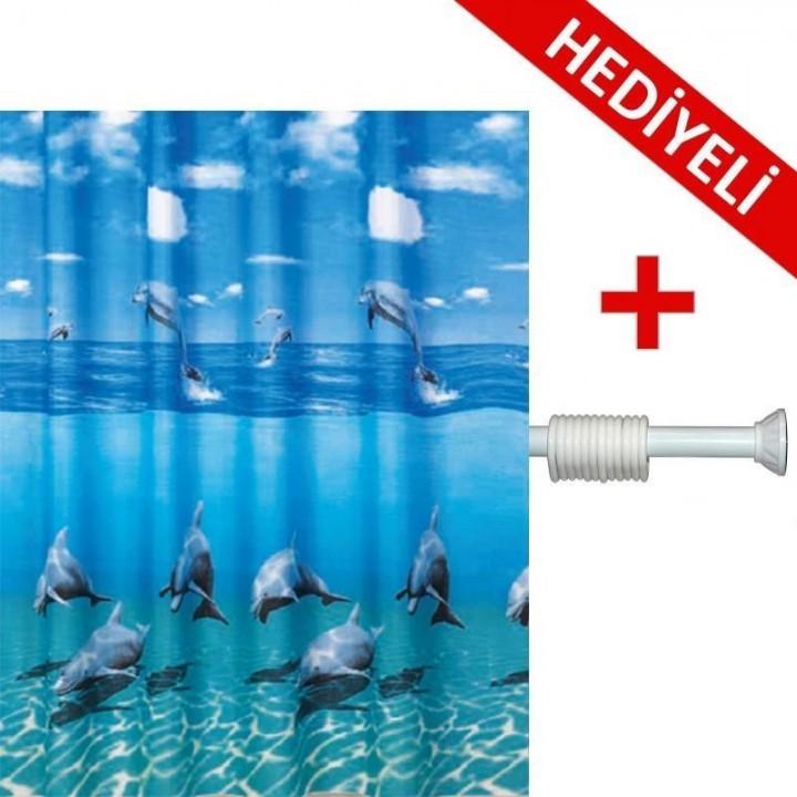 Prado Dolphin Banyo Duş Perdesi 180x200 Banyo ASKI HEDİYE