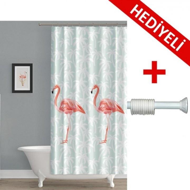 Banyo Perdesi Flamingo + Askı Hediyeli 180x200