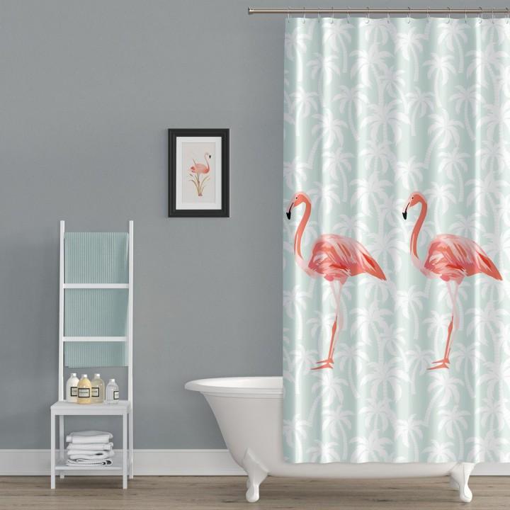 Banyo Perdesi, Duş Perdesi Flamingos 180x200cm