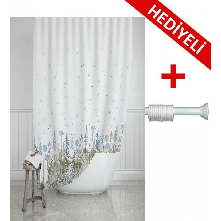 Prado Kır Banyo Perdesi, Duş Perdesi 180x200cm ASKI HEDİYELİ