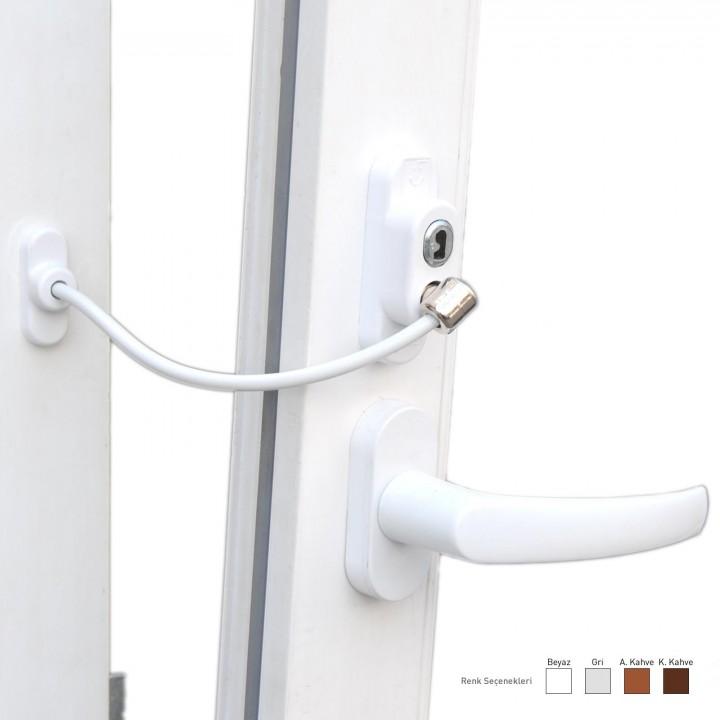 Penkid Anahtarlı Halatlı Kapı Pencre Emniyet Kilidi -100 ADET BEYAZ