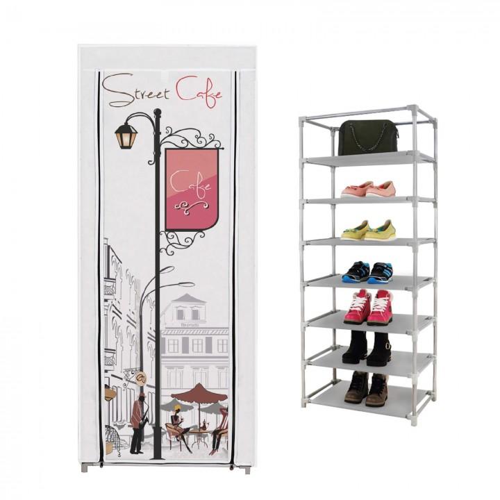 Prado 7 Raflı Çelik Profilli Bez Dolap, Ayakkabılık Cafe