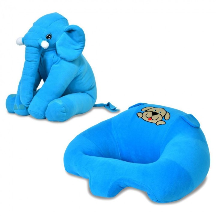 Prado Bebek Destek Minderi, Uyku Arkadaşı Fil Yastık Seti MAVİ