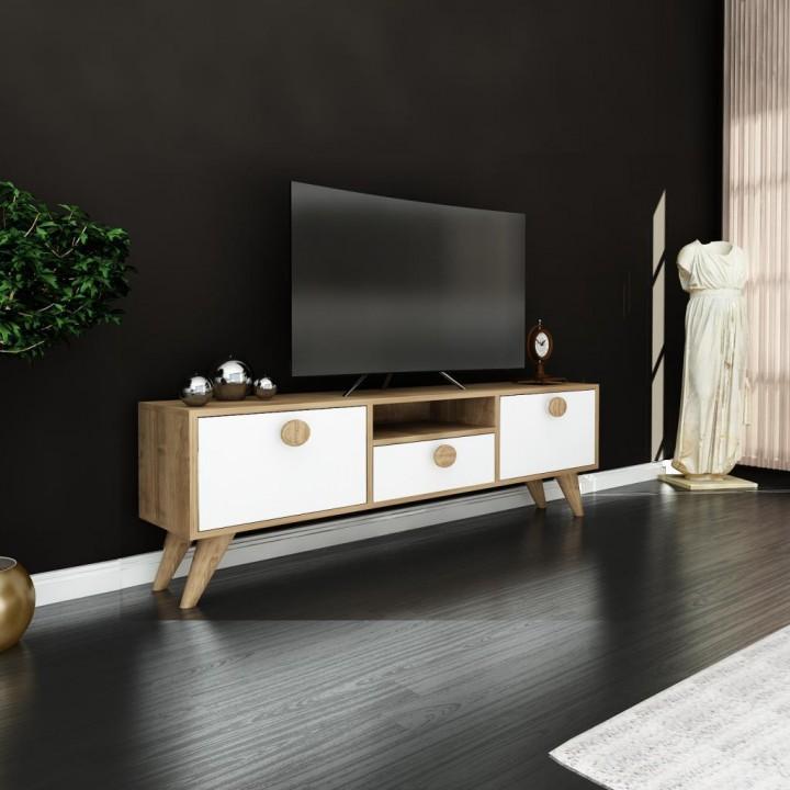 Prado Cenova Ahşap  Tv Ünitesi, Tv Sehpası Ceviz Beyaz