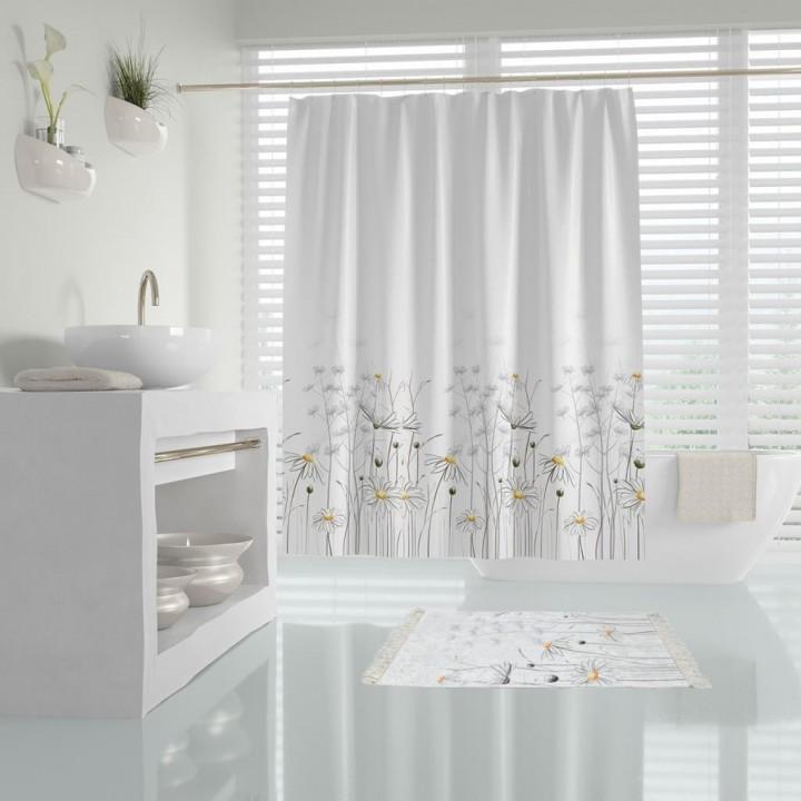 Prado Daisy Banyo Perdesi Duş Perdesi Paspas Takımı