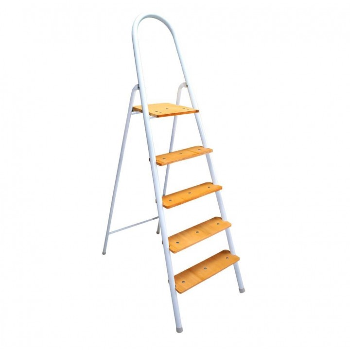 Prado Portatif 4 + 1 Ahşap Basamaklı Ev Tipi Katlanır Merdiven