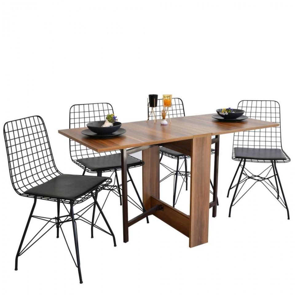 Prado Kelebek Masa Sandalye Takımı CEVİZ