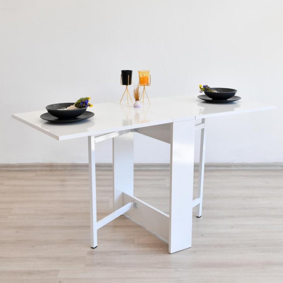Prado Portatif Kelebek Katlanır Ahşap Masa Beyaz
