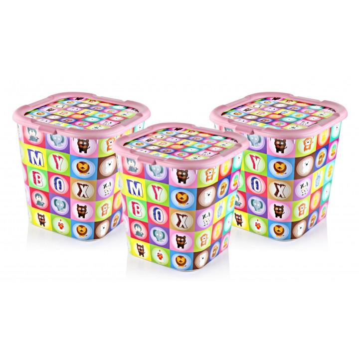 Prado My Box Kapaklı Saklama Kutusu, Oyuncak Kutusu Pembe 3 ADET 14LT