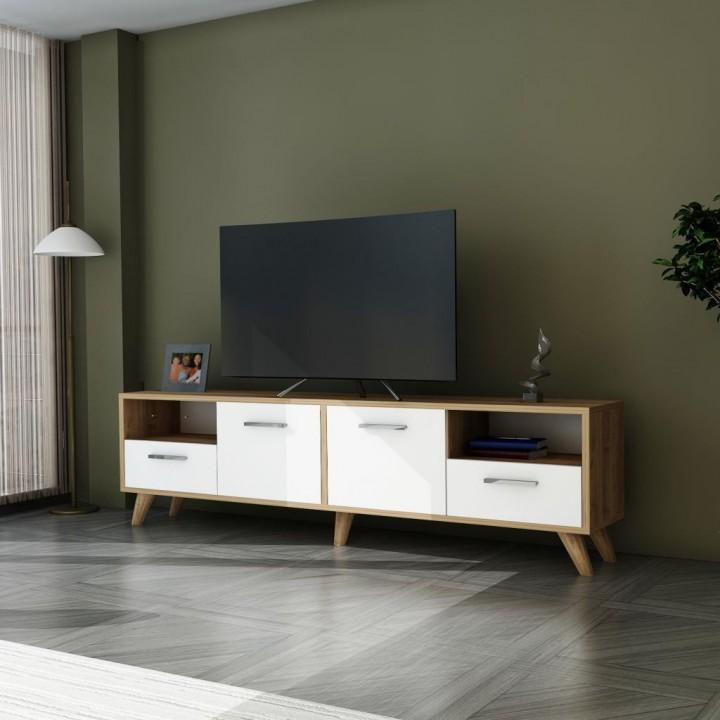 Prado Simla Ahşap Tv Ünitesi, Tv Sehpası Ceviz Beyaz