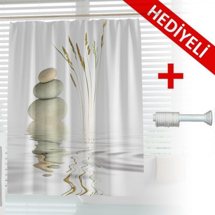 Prado Stone Reed Banyo Duş Perdesi 180x200 ASKI HEDİYELİ