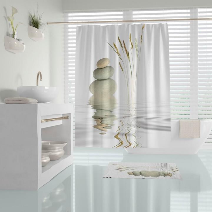 Prado Stone Reed Banyo Perdesi Duş Perdesi Paspas Takımı
