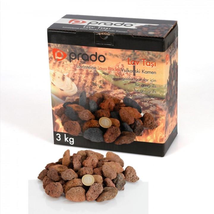 Prado Tüplü Mangal için Lav Taşı (3kg) KIRMIZI