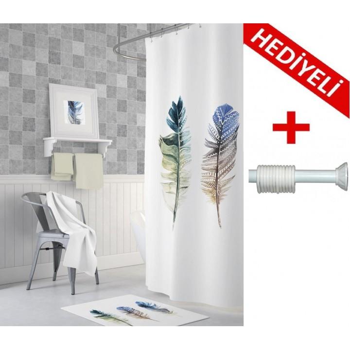 Prado Feather Dijital Baskı Banyo Perdesi 180x200 ASKI HEDİYELİ