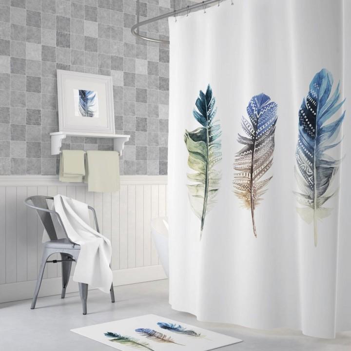 Prado Triple Feather Dijital Baskı Banyo Perdesi 180x200cm