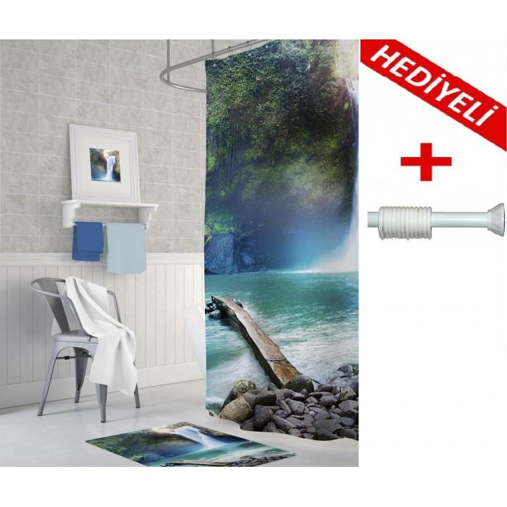 Prado Waterfall Dijital Baskı Banyo Perdesi 180x200 ASKI HEDİYELİ