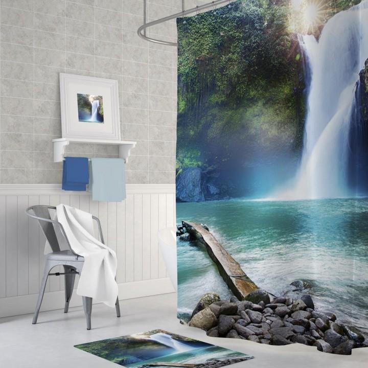 Prado Waterfall Dijital Baskı Banyo Perdesi 180x200cm
